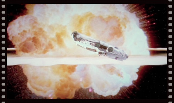 Image of the Millennium Falcon flying away from the exploding Death Star