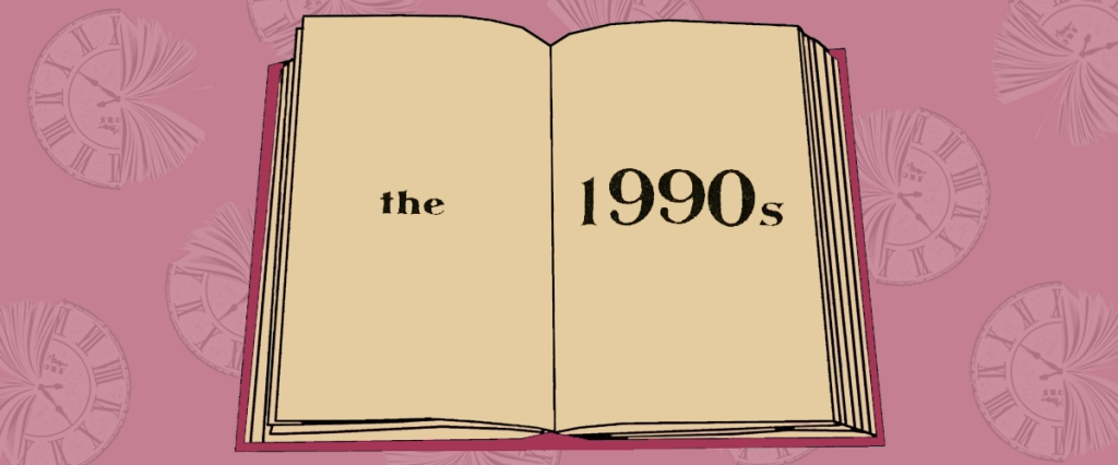 Image of an open book with the text the 1990s printed on the pages