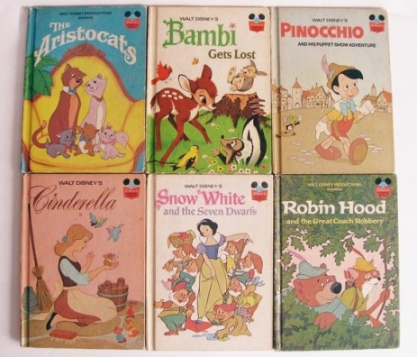 Collection of Disney books from the 1970s and 1980s
