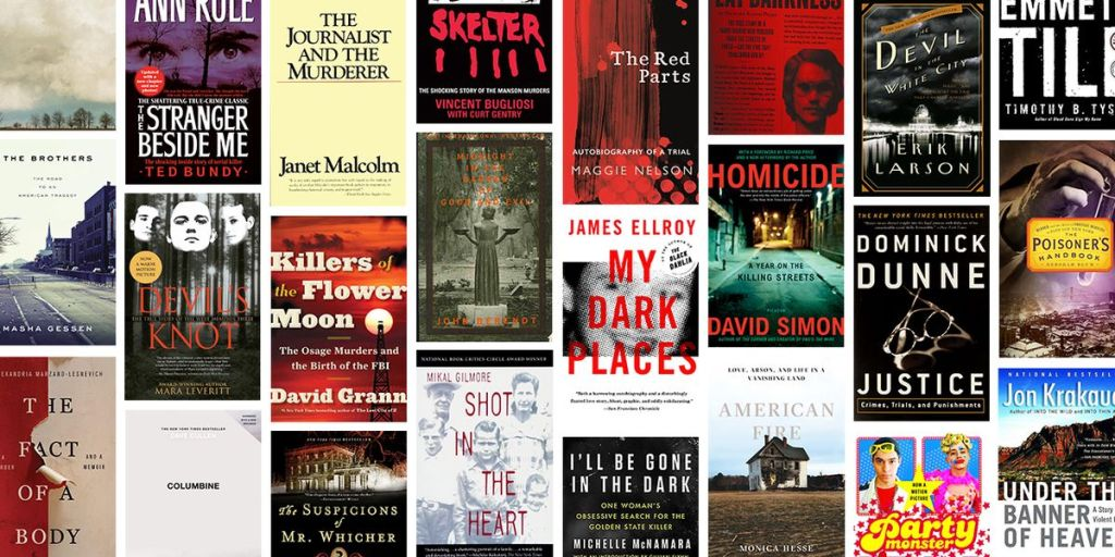 Image of a collection of true crim book covers